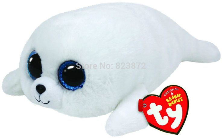 New TY Plush Animals Beanie Boos ICEBERG White Seal Plush Toys 6''/10'' Large Size Ty Big Eyed Stuffed Animals Kids Toys Gifts