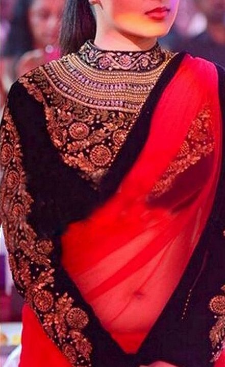 Buy RED NET PLAIN DESIGNER SAREE WITH BLOUSE Online