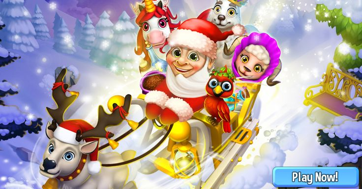 Santa flying in his sleigh to bring Christmas Gifts to all Royal Story players…