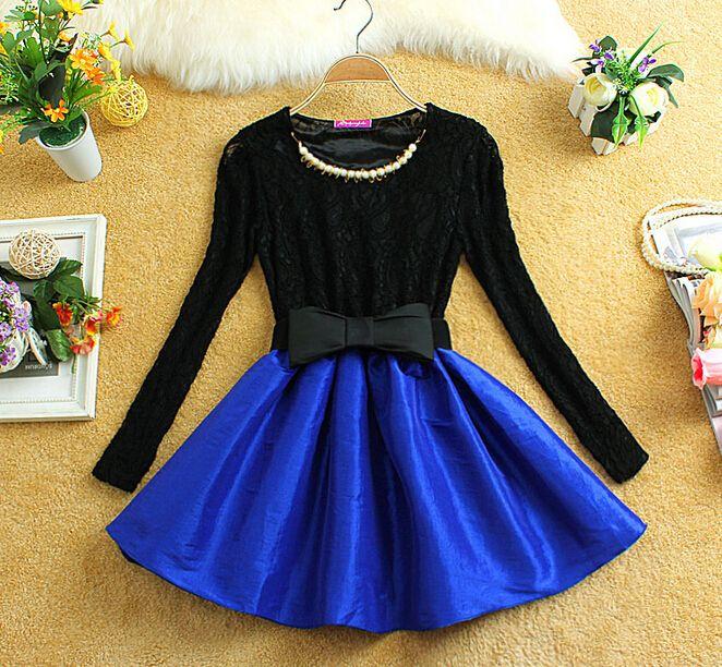 Fashion Long Sleeve Lace Dress #092007AD