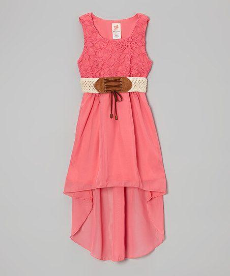 Coral Belted Hi-Low Dress