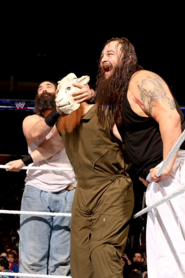 The Wyatt Family psych themselves up.