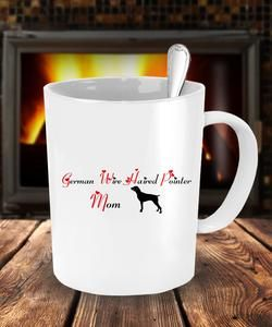 Dog Lover Gifts For Mom - German Wirehaired Pointer Dog - White Coffee Mug - 11/15 oz Tea Cup - Ceramic - Uncle Seal