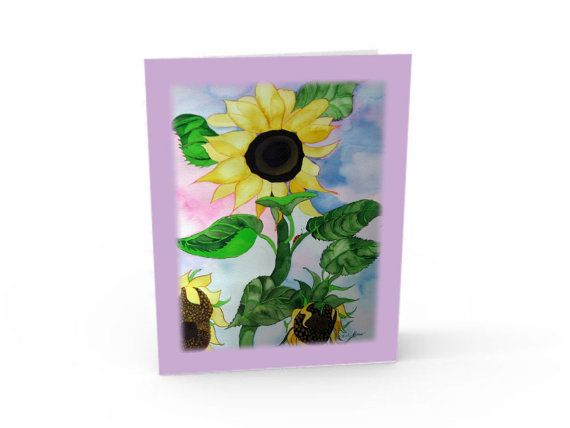 sunflowers painting note card. by KathyPoitrasArt on Etsy