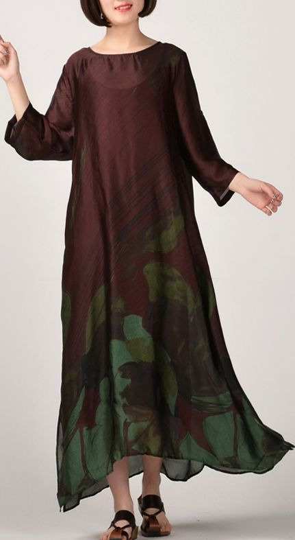 72f97f0bdb84 2018 green prints natural silk dress plus size clothing side open silk clothing  dresses Fine o neck gown