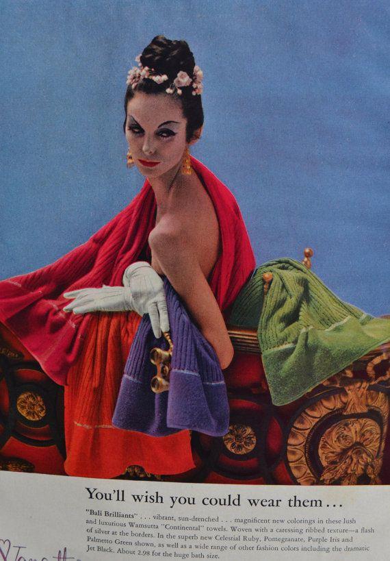 1950s Wamsutta Towel Bathroom Decor Ad 10 x 13 by TannaGail