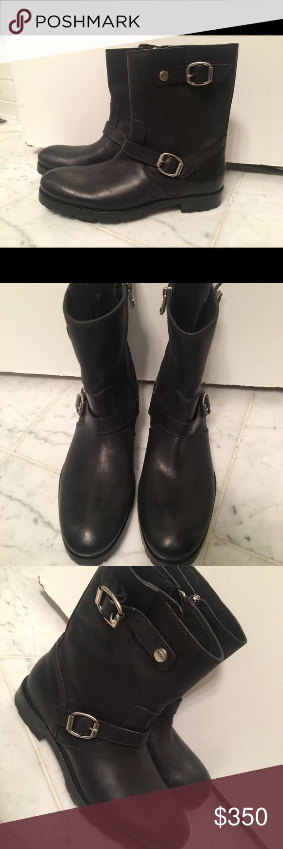 Jimmy Choo men's biker boots Stanford leather biker boots. From a sample sale and didn't fit. Never worn outside. Jimmy Choo Shoes Boots