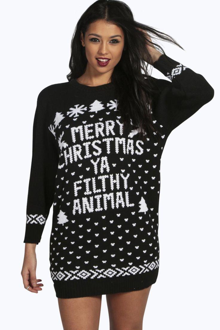 Mia Merry Christmas Ya Filthy Animal Jumper Dress