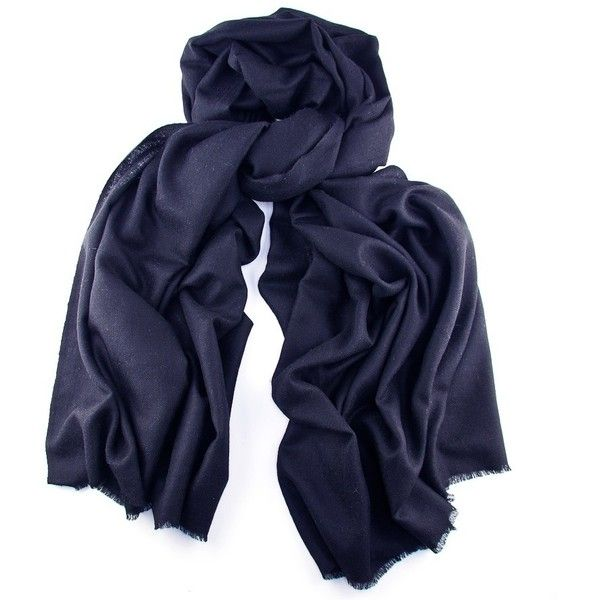 Navy Blue Cashmere Shawl ($250) ❤ liked on Polyvore featuring accessories, scarves, blue, navy scarves, navy blue scarves, summer shawl, shawl scarves and navy shawl
