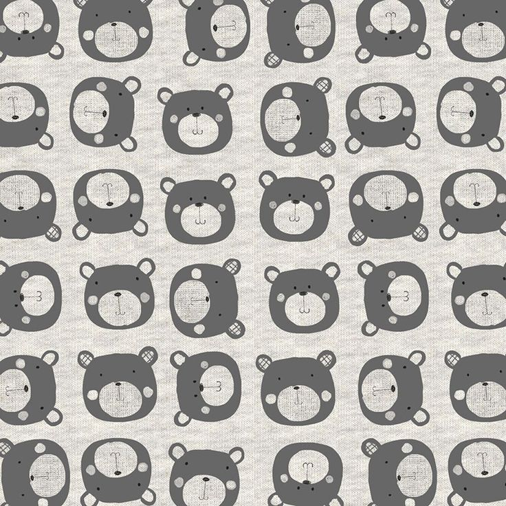 Bavlněná teplákovina s dětským potiskem s medvídky. Na mikiny, tepláčky, vesty