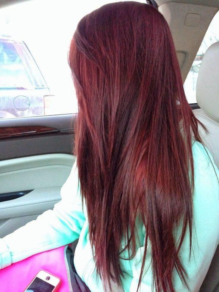 Dark brown red cherry coke long hair