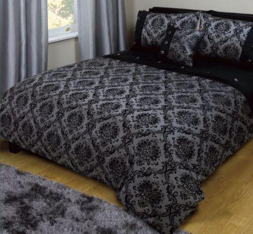 luxury grey black jaquard damask kingsize duvet set vintage new home room gift