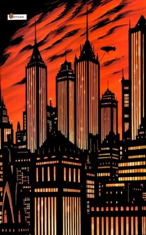 One of many Gotham City skyline shots sure to be pinned to this board.