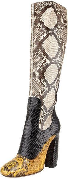 PRADA Tri-color Python Tall Boot