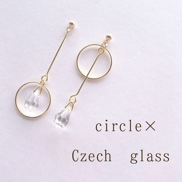 ハンドメイドマーケット+minne(ミンネ)|+circle+×+Czechglassのアシンメトリーピアス/イヤリング