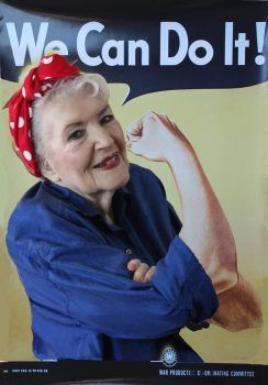 Rosie the Riverter poster updated with 96-year old Naomi Parker. (Photo by John Fraley, http://www.naomiparkerfraley.com/)