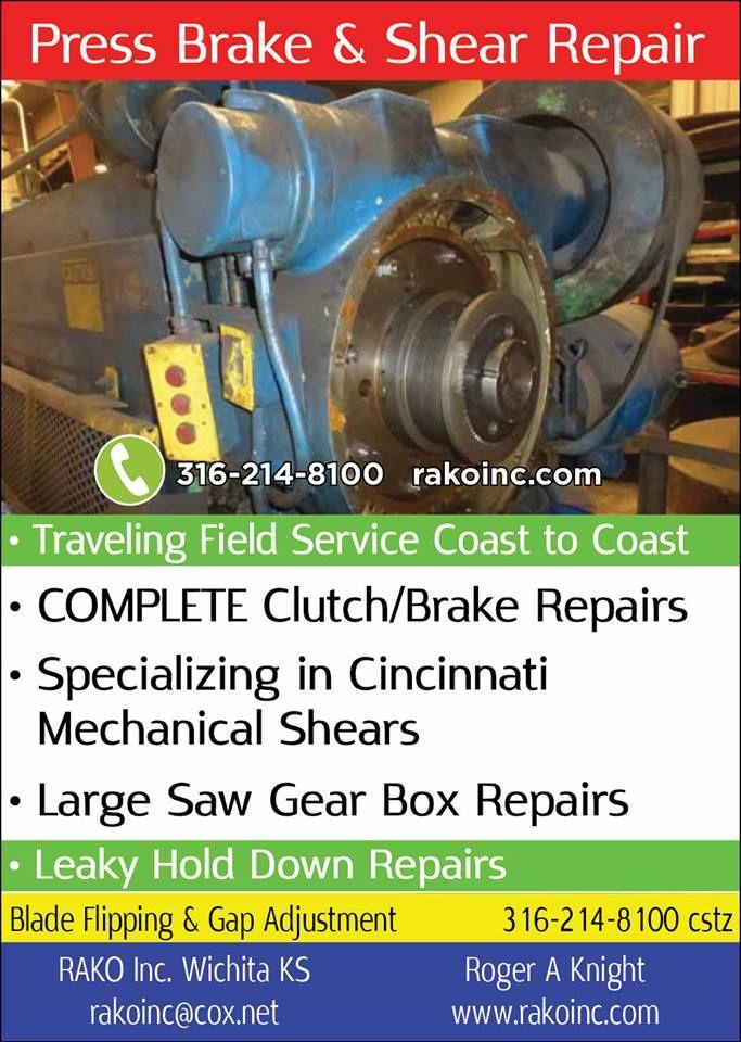 Rako Inc Specializes In The Service Repair Of Older Metal Working Machinery Equipment Including Press Brake And Shea Brake Repair Press Brake Metal Working