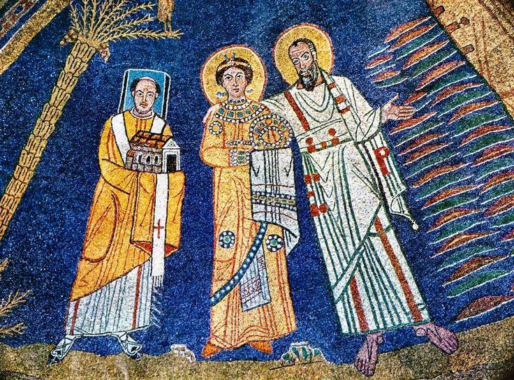Basilica Santa Prassede, Roma.  I mosaici absidale nello stile bizantino. 817-826. Il periodo dei Carolingi