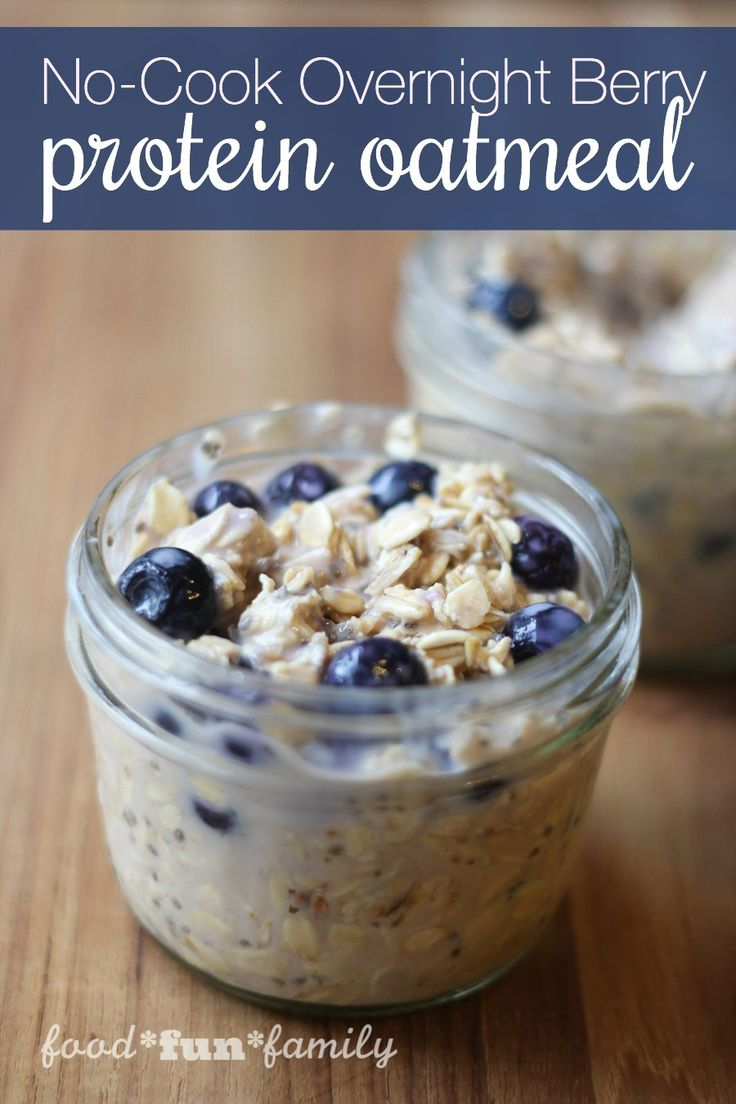 No-Cook Overnight Berry Protein Oatmeal