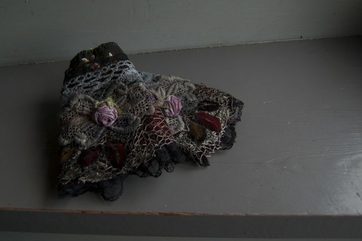 Wrist warmers,cuffs. Nuno felted and decorated with lace and silk. My December design.