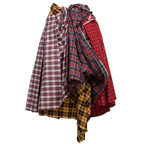 Comme des Garcons Plaid Skirt AD 2005 ❤ liked on Polyvore featuring skirts, bottoms, plaid skirt, red knee length skirt, tartan skirt, comme des garcons skirt and red skirts