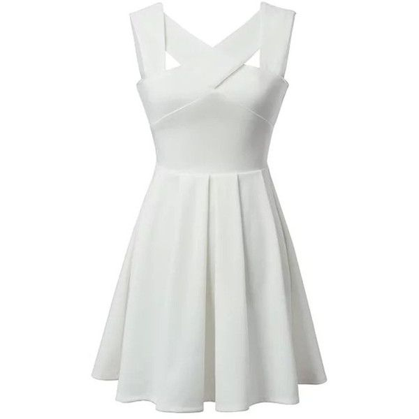 Choies White Cut Out Cross Sleeveless Skater Dress featuring polyvore, fashion, clothing, dresses, vestidos, white, white dress, white cocktail dresses, sleeveless dress, short white dresses and short dresses