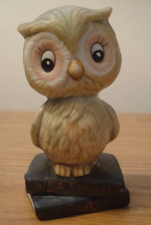 Amazing Vintage Cute Ceramic Weather OWL On Books Figurine J.S.N.Y Decor Art  Collectible