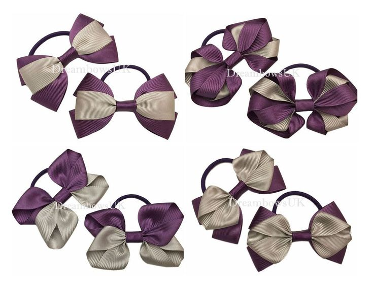 Purple and grey school hair bows on thick bobbles, girls school hair accessories #DreambowsUK