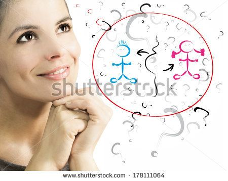 woman dreaming to be pregnant - stock photo