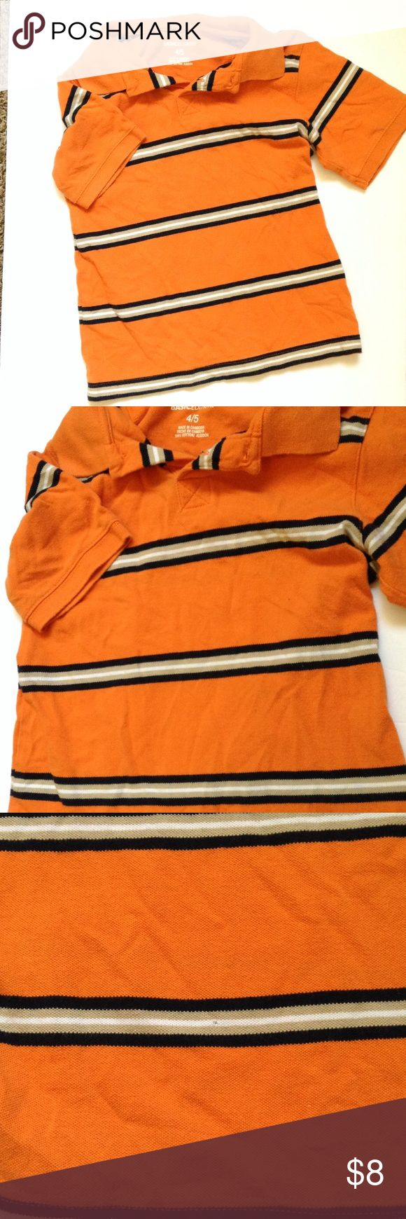 Boys BASIC EDITION STRIPED POLO, Pullover Orange In good used condition. Small price tag hole on back side, toward bottom. See photos. Sold as is. Size 4/5. Shirts & Tops Polos