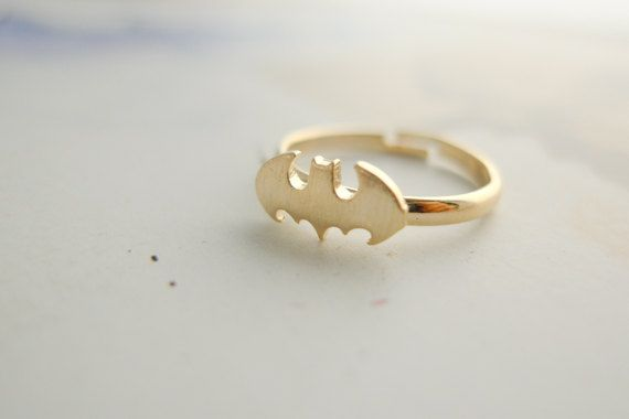 Batman ring CHOOSE ONE gold / silver / rose gold. $14.00, via Etsy.