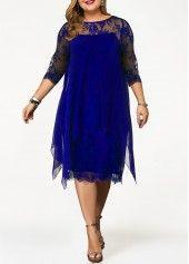 Plus Size Lace Panel Overlay Navy Blue Dress | Rotita.com - USD $36.39 17