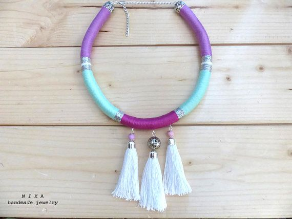 African necklace. Masai jewelry. Rope tassel necklace. African jewelry. Tribal jewelry. Tassel necklace. Rope necklace. Multicolor necklace.
