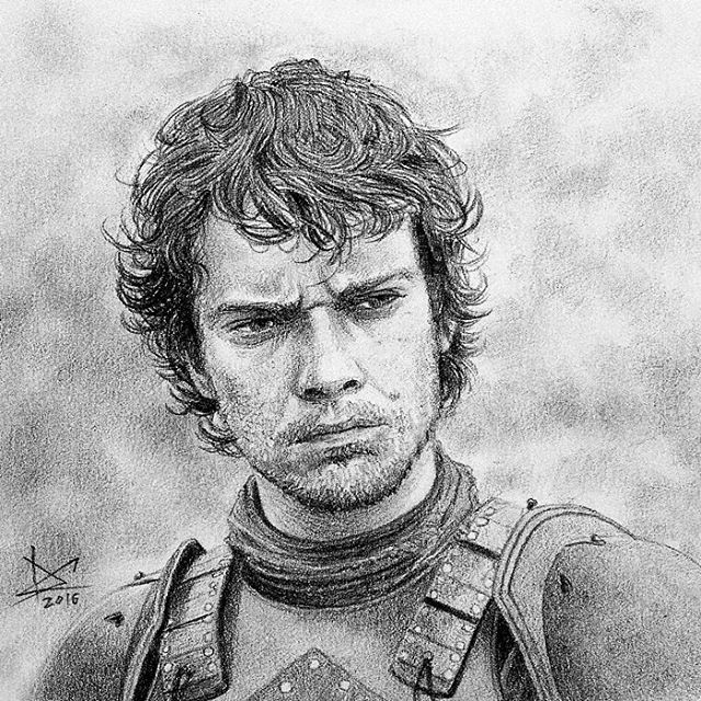 Poor Theon, born to be a loser... I don't hate him. #drawing #fanart #gameofthrones #theongreyjoy #alfieallen
