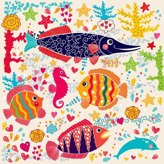 Pesci colorati carino. Tema subacqueo. Stampa di MoleskoStudio