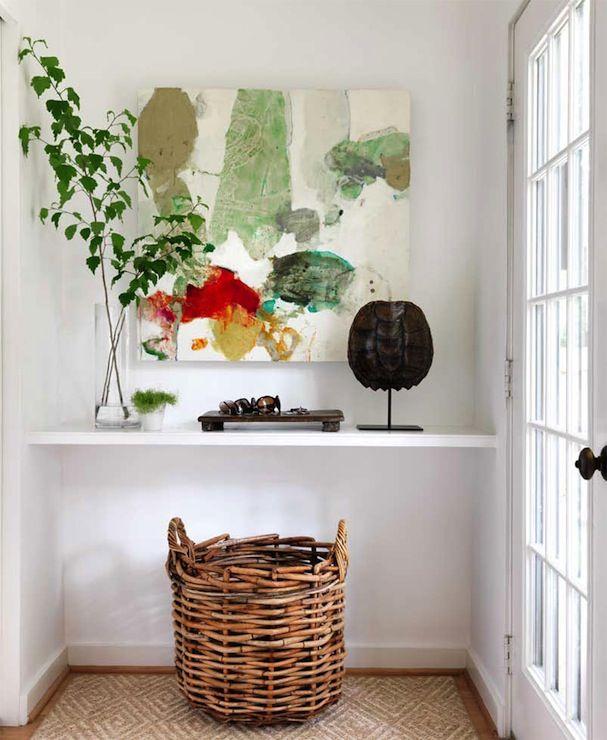 Small Foyer Feng Shui : Floating shelf table transitional entrance foyer