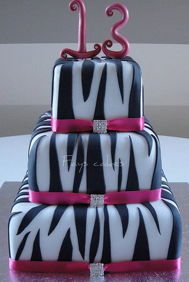 Teen Birthday Cakes and Event Cake Ideas: Diva Zebra Print Cake Idea