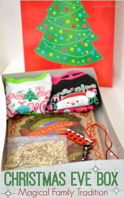 Put together a Christmas Eve Box for kids to open- include new pj's, a holiday book to read before bed, reindeer food to sprinkle in the yard, Santa's magic key.... lots of other ideas of things to include here, too! Such a fun family tradition!