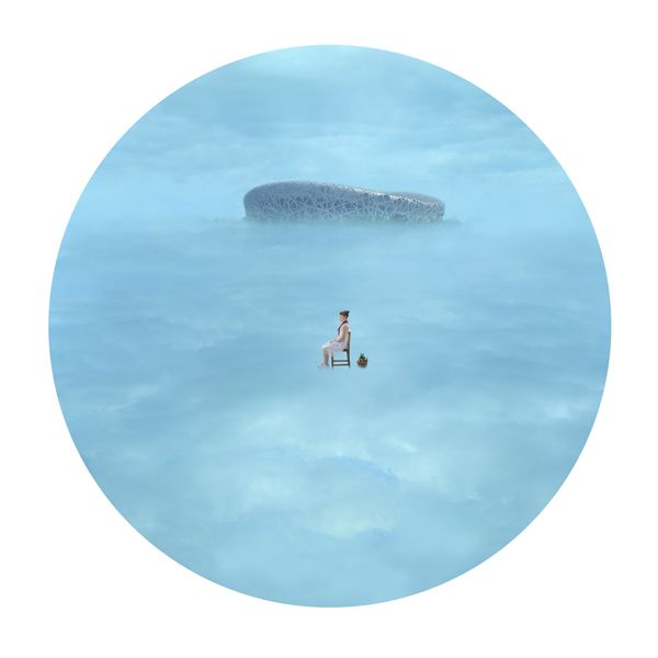 "This is a work by a young Chinese artist Lin Xiaofang. She creates these fantastical dream-like collages that are set in various elements - water, air, desert... And each time the viewer seems to be peeking through a tiny keyhole into this dream-like ""reality"". More here http://www.galleryintell.com/aipad-798-photo-gallery/"
