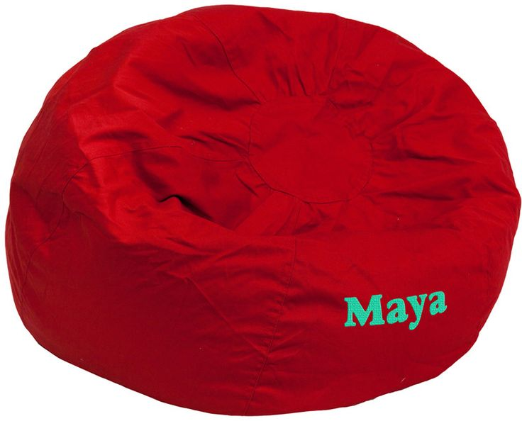 Flash Furniture DG-BEAN-LARGE-SOLID-RED-TXTEMB-GG Personalized Oversized Solid Red Bean Bag Chair