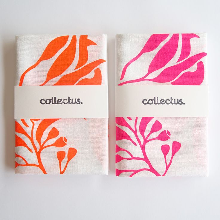 Tea Towel / Gum leaves / Australian art / Fluoro orange or fluoro pink / Graphic / Gum nuts / White Cotton / Free Postage in Australia (15.00 AUD) by Collectushere