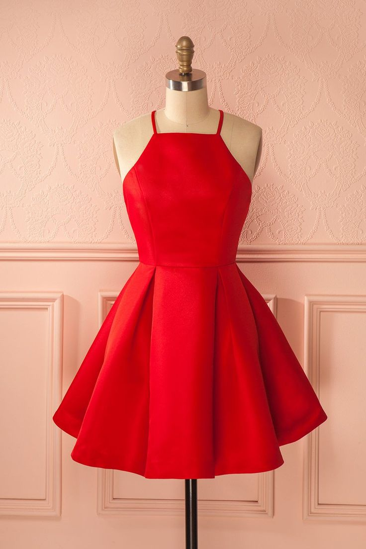Cute Short Red Prom Dresses,A Line Homecoming Dresses,Popular Graduation Dresses