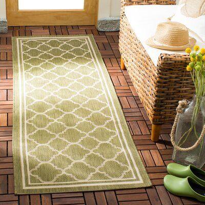 Winston Porter Herefordshire Green/Beige Indoor/Outdoor Area Rug Rug Size: Runner 2'4″ x 6'7″