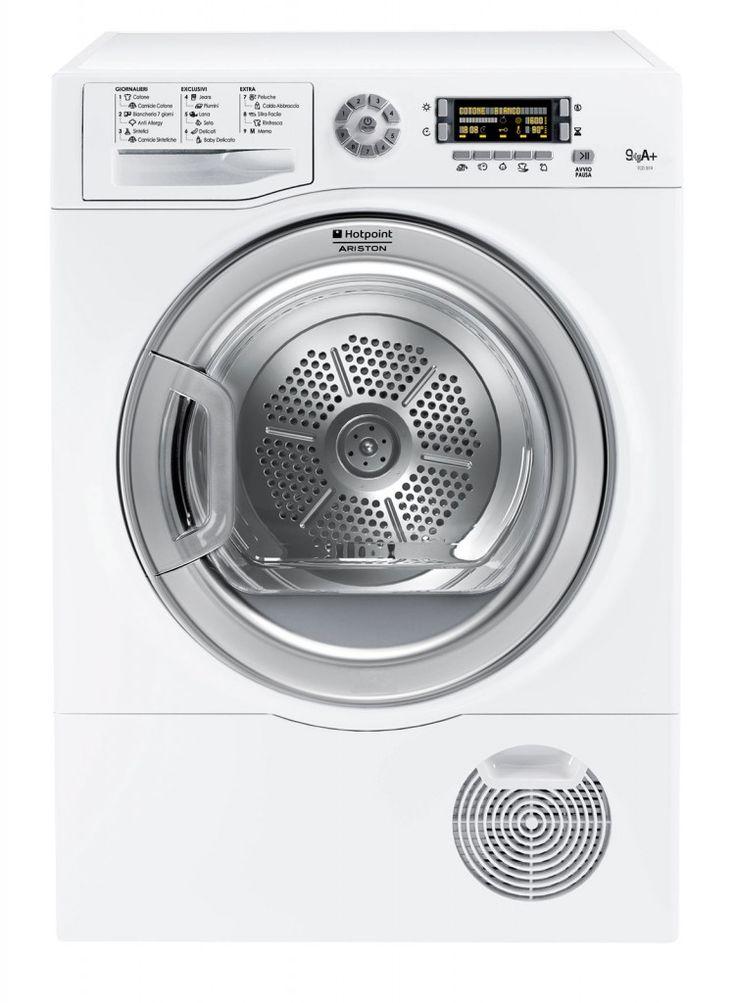 Il modello a condensazione elettronica TCD 974 6C1 (IT) di Hotpoint-Ariston grazie ai 7 livelli di asciugatura, ai programmi specifici e alle diverse opzioni, garantisce performance sempre perfette. E' regolabile con tempi da da 40' a 220' e ha Delay Timer per ritardare la partenza da 1 a 24 ore. In classe A+, ha capacità di 9 kg. Misura 85xL 59,5 x P 62,3 x H 85 cm. Costa 849 euro. www.hotpoint-ariston.it