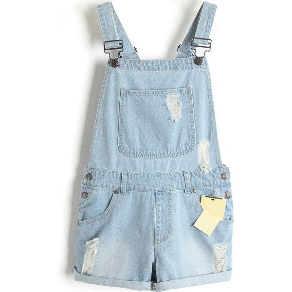 LUCLUC Light Blue Casual Fashionable Edge Curl Playsuits ($36) ❤ liked on Polyvore featuring jumpsuits, rompers, shorts, bottoms, overalls, blue romper, light blue romper, bib overalls, playsuit romper and blue overalls