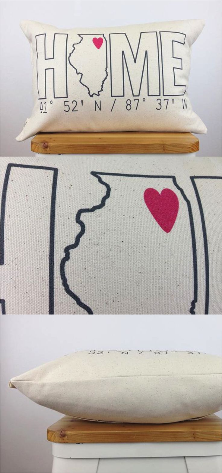 """This personalized """"HOME"""" pillow is personalized with the coordinates of any place you call home and is printed using eco-friendly inks on organic cotton and includes the insert.   Made by people who care on Hatch.co"""