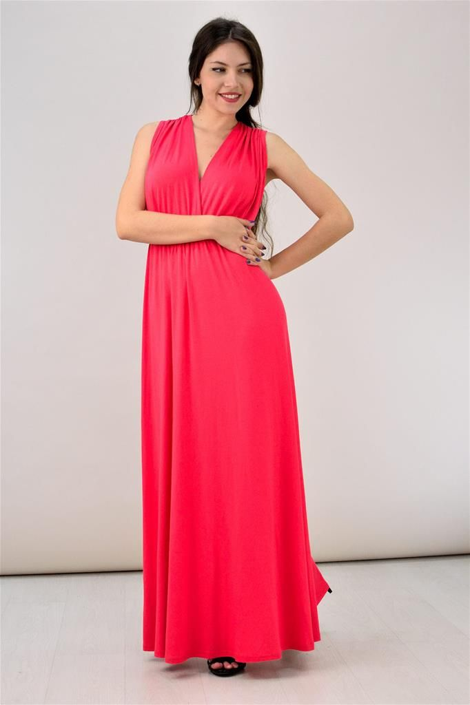 Potre – Μονόχρωμο κρουαζέ Μαξι Φόρεμα