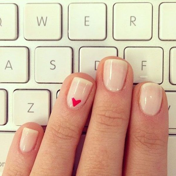 Show your love with an adorable little heart accent on your ring finger.    Photo via  Lauren Conrad . Nail Design, Nail Art, Nail Salon, Irvine, Newport Beach