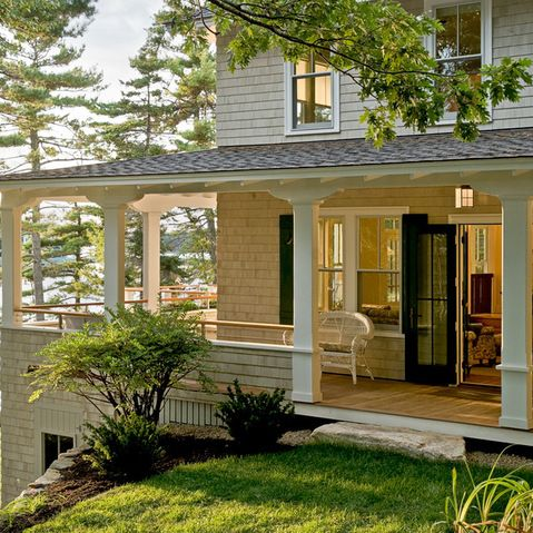 Wood siding porch pillars design ideas pictures remodel for Cottage siding ideas