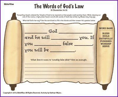 The Words of God's Law - Kids Korner - BibleWise